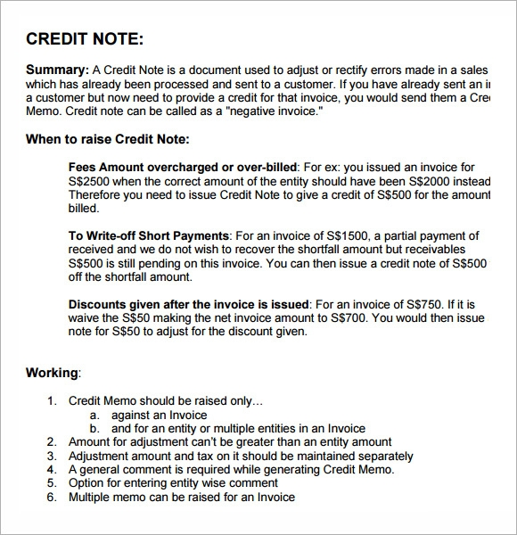 Sample Credit Note 4 Documents in PDF PSD Word – Credit Memo Sample