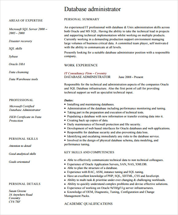 Sample Database Administrator Resume   Documents In Pdf Word