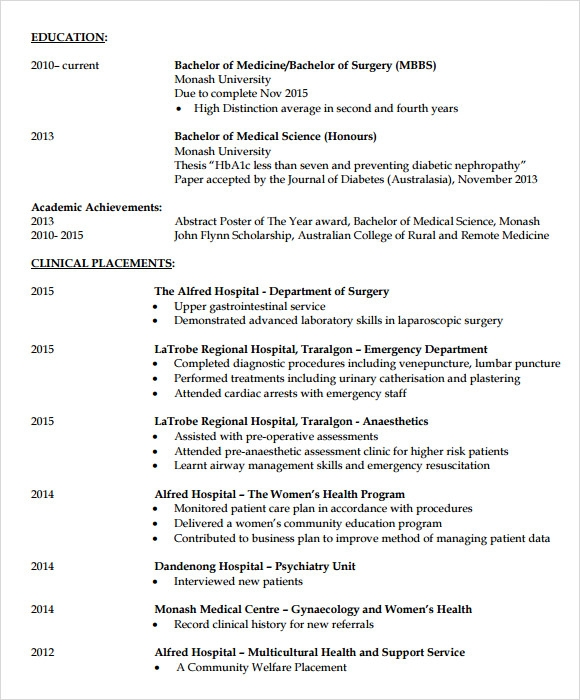 doctor resume template free - Doctor Resume Template