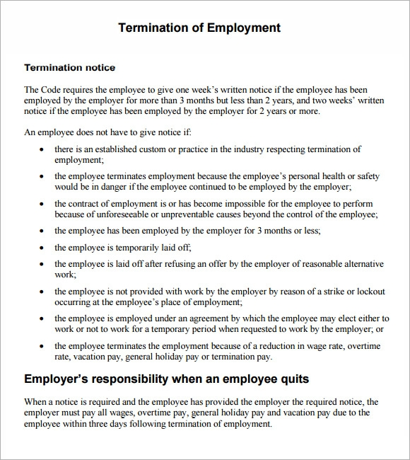 7 termination notice samples sample templates employee termination notice altavistaventures Gallery