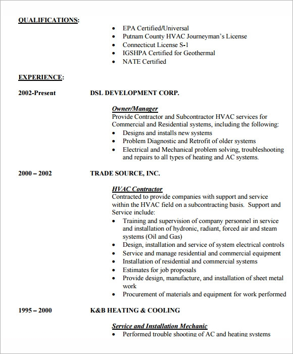 mechanical engineering internship resumes template - Hvac Resume Sample