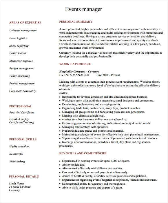 event manager resume template - Event Manager Resume