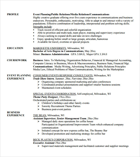 Sample Event Planner Resume   Documents In Pdf