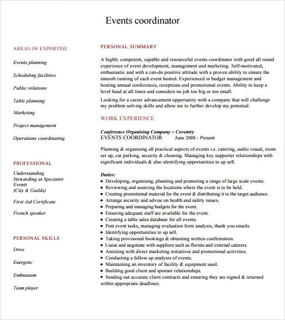 9 sample event planner resumes sample templates for Events manager job description template