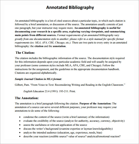 annotated bibliography in text citations