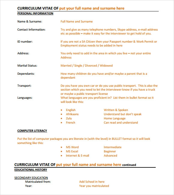 executive resume template free for sample doc curriculum vitae format download