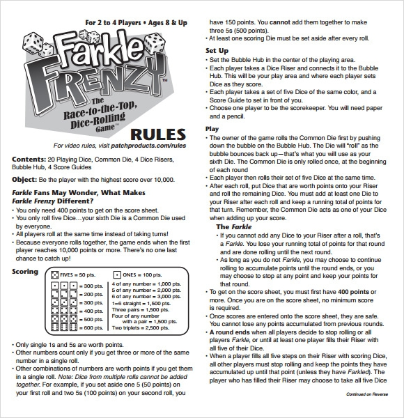 farkle score rules sheet