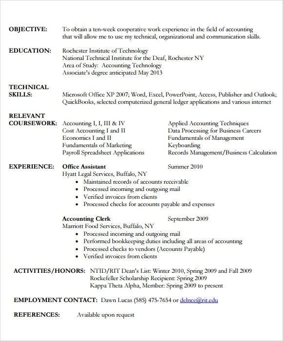 Sample Accounting Resume - 6+ Documents In Pdf
