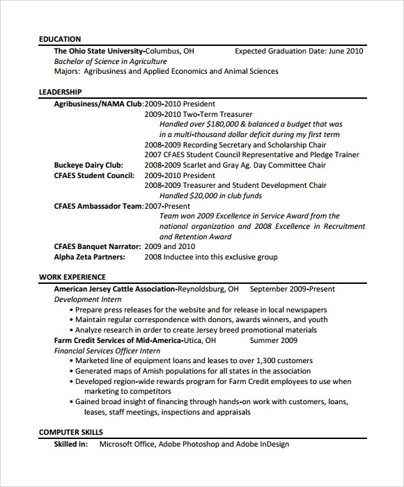 Agriculture Resume Template 7 Download Free Documents