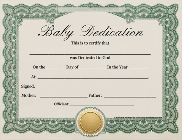 free 10  sample printable baby dedication certificate