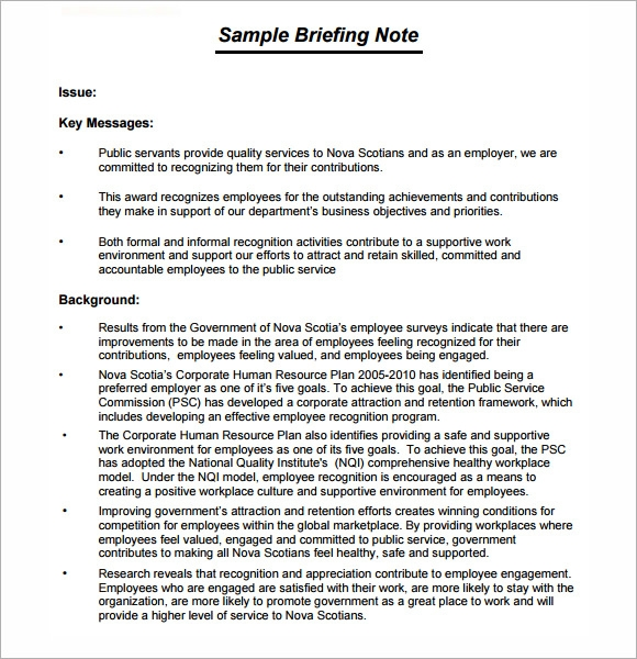 Sample briefing note 5 documents in pdf word free briefing note template pronofoot35fo Gallery