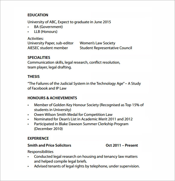 law student resume template word – Resume Templates for Students in University