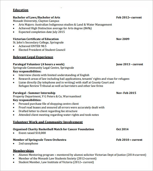 free lawyer resume templates in pdf