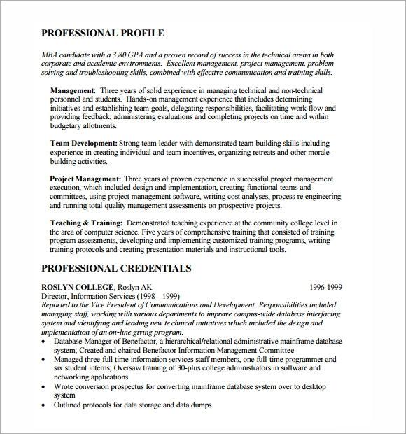 free mba resume template