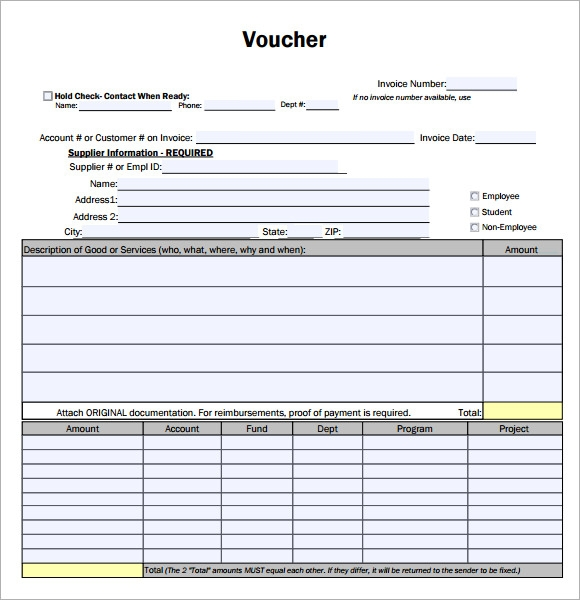 Payment Voucher Sample 7 Documents in PDF – Sample Payment Voucher Template