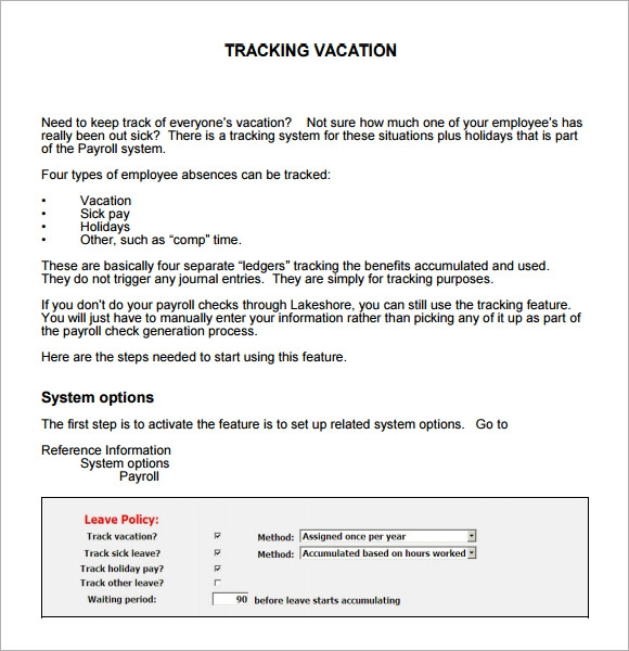 Sample Vacation Tracking - 8+ Documents in PDF