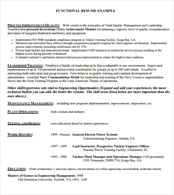 functional resume example - Sample Of A Functional Resume