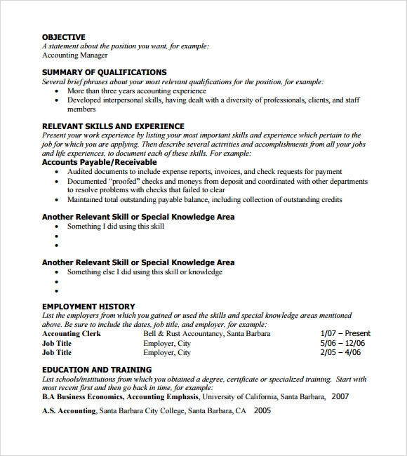 Free 5 Sample Functional Resumes In Pdf