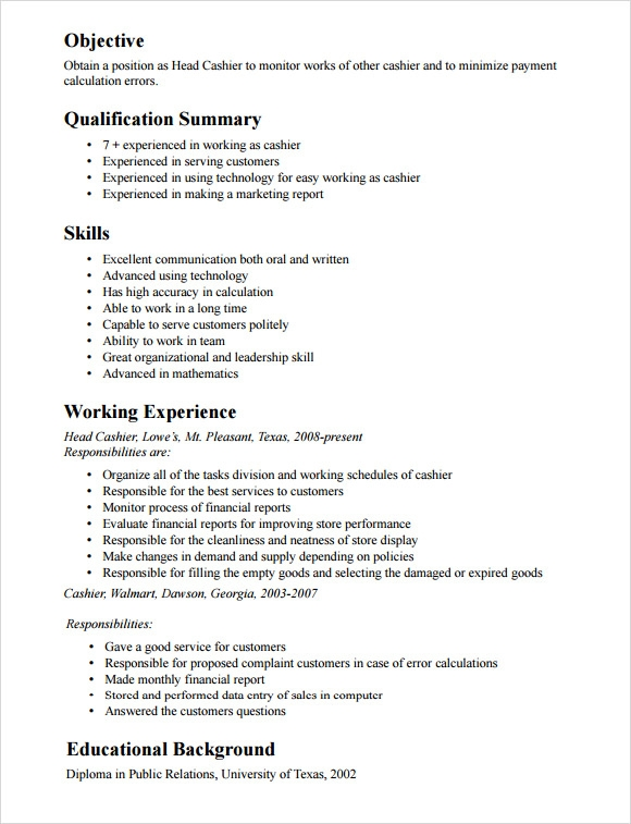 Free 9 Cashier Resume Templates In Pdf