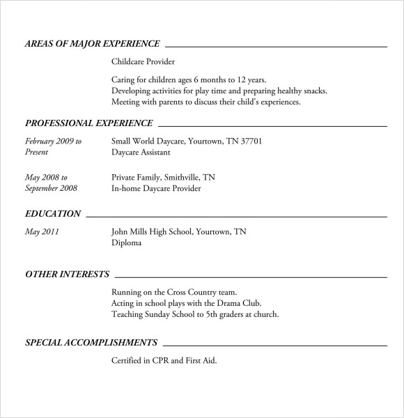 Babysitting Resume Templates Sample American Resume Template