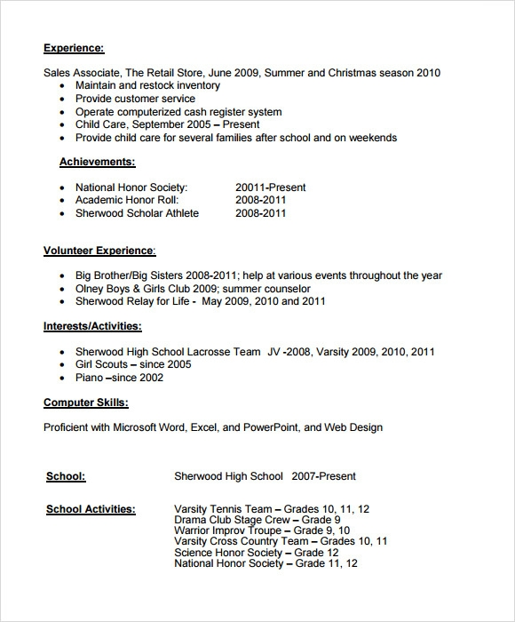 Example of a high school resume