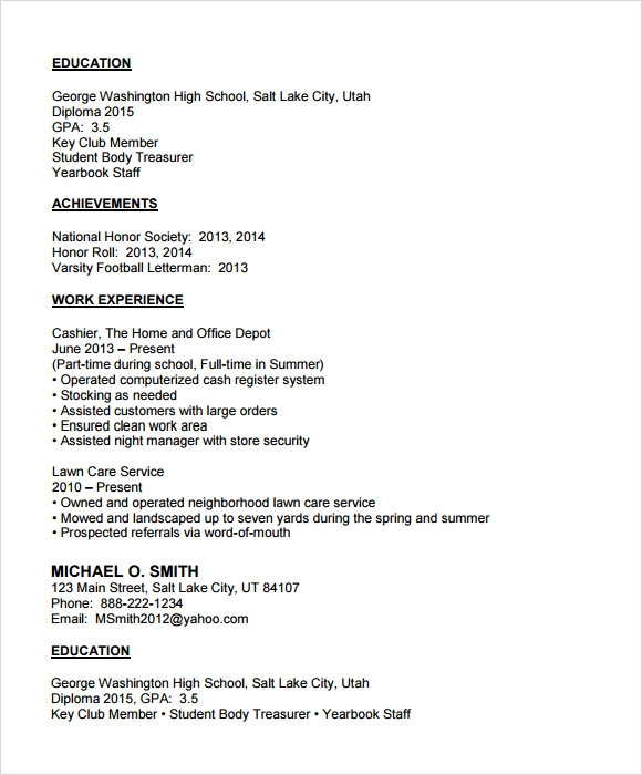 high school resume sample - High School Resume Examples