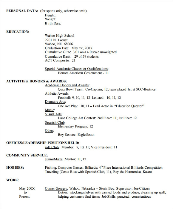 high school resume template pdf - Sample High School Resume Template