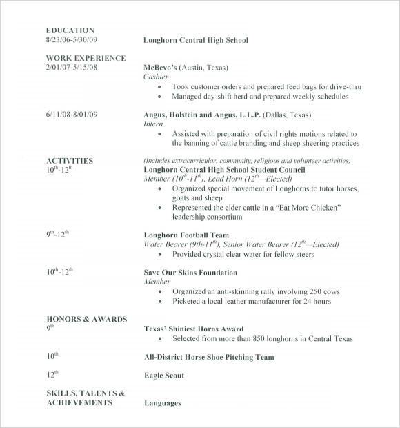 sample high school resume for college