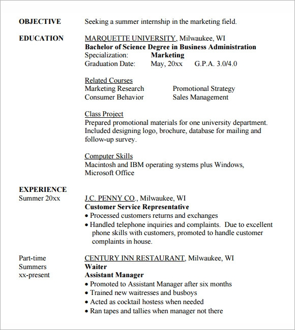 resume format for internship 28042017