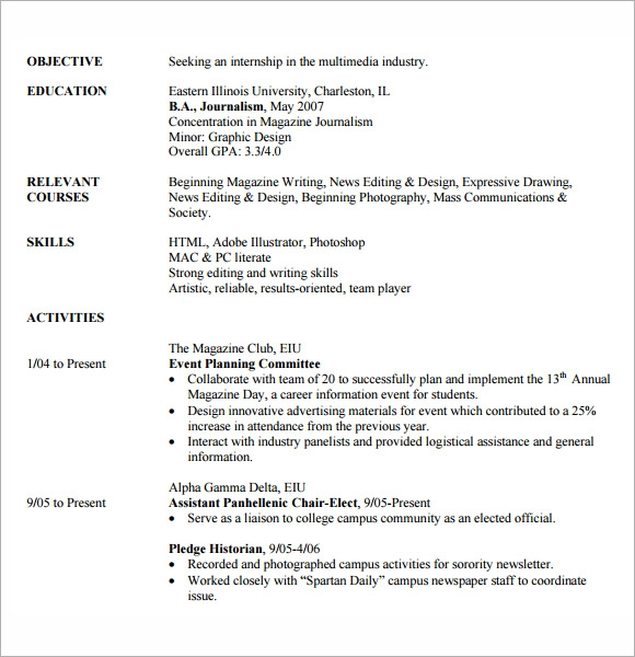 Wonderful Internship Resume Sample
