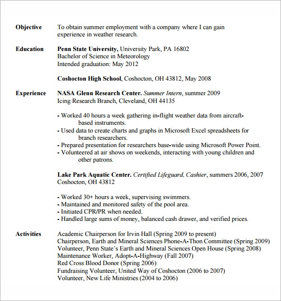 sample resume objective for intern google search microsoft resume