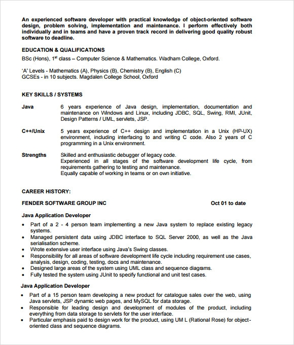 java developer resume template 6 documents in