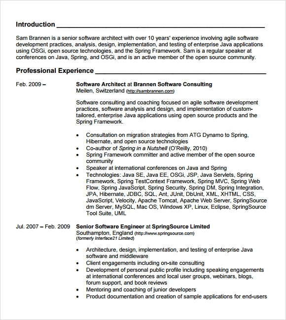 java architect resume example architect resume samples sample slideshare - Java Resume Example