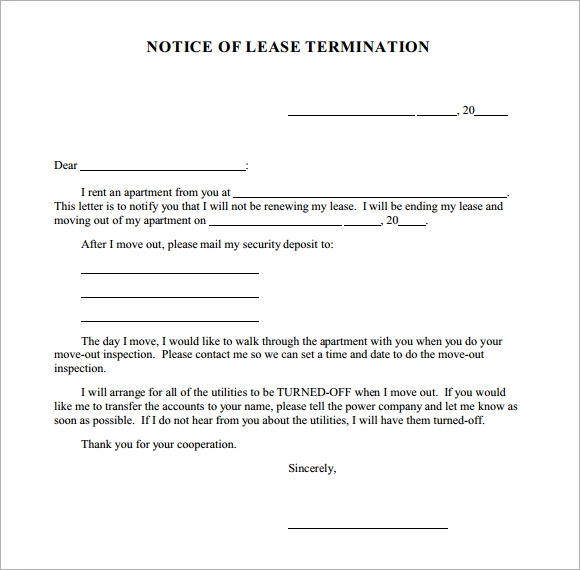 lease termination notice - Notice Of Lease Termination