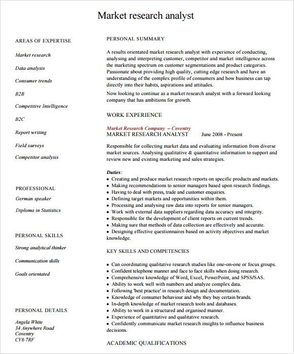 marketing analyst resume template 6 free