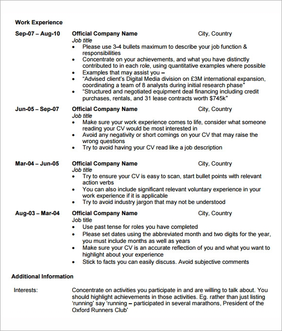 mba resume template word
