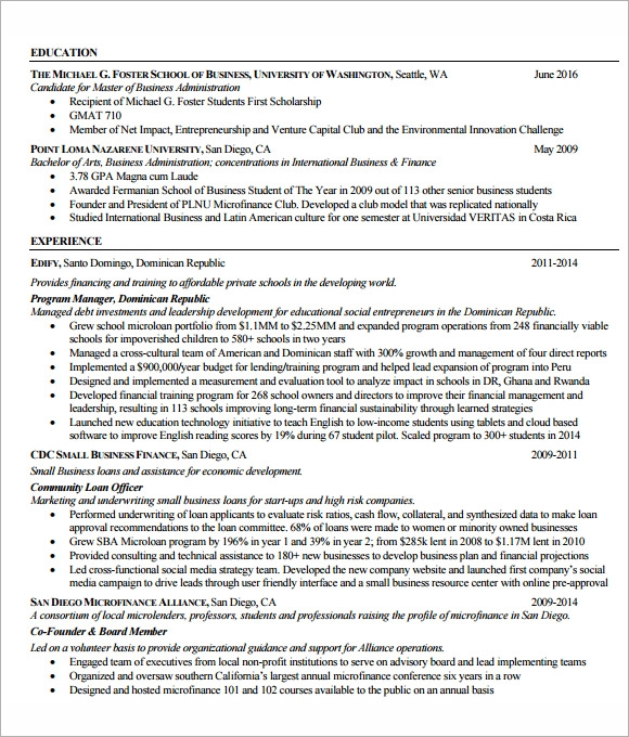 mba resume templates free printable