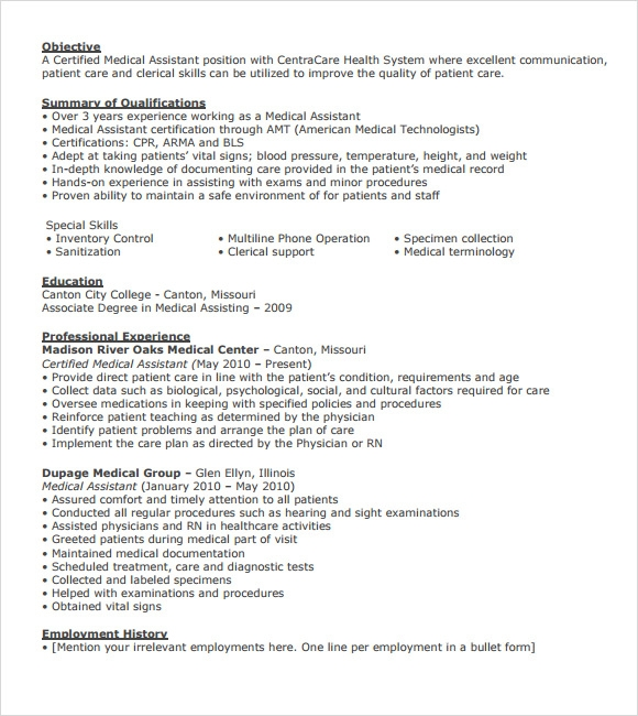 medical assistant resume  u2013 7 free samples   examples   format