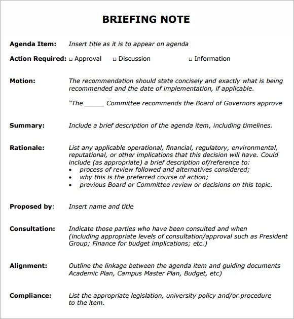 Sample Briefing Note - 5+ Documents In Pdf, Word
