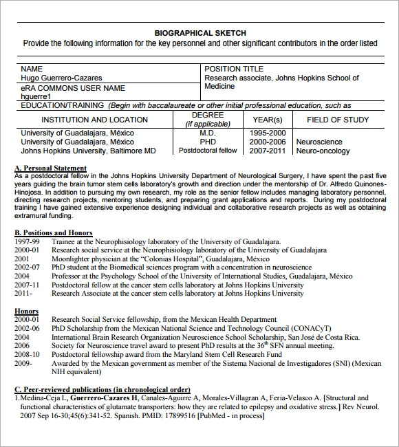 Personal Statement For Nih Biosketch Samples Custom Writing At Cover Letter Resume Template