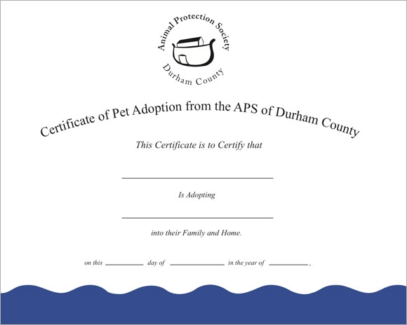puppy adoption certificate template