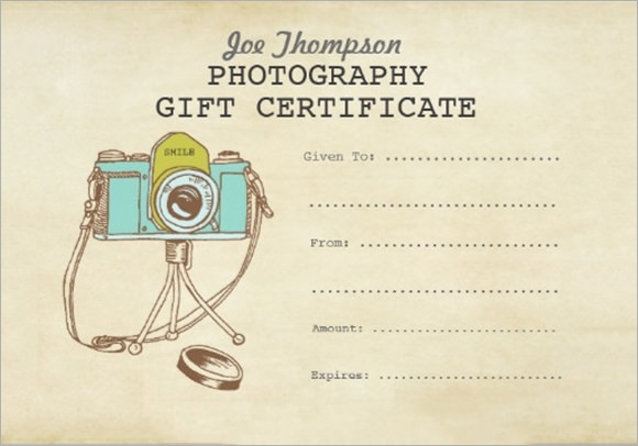 Photography Gift Certificate Template   Download Documents In