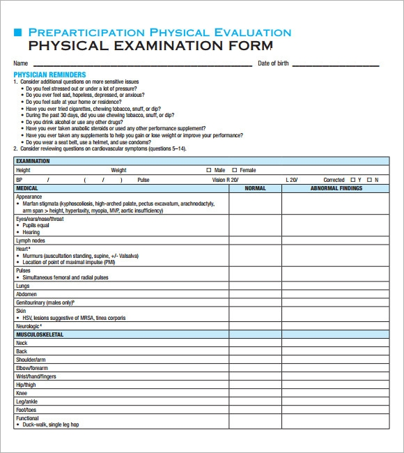 Physical Exam Template   Download In Documents In Pdf  Psd  Word