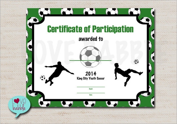 Soccer Certificate Template Certificate Template For Kids Perfect – Blank Certificate of Attendance