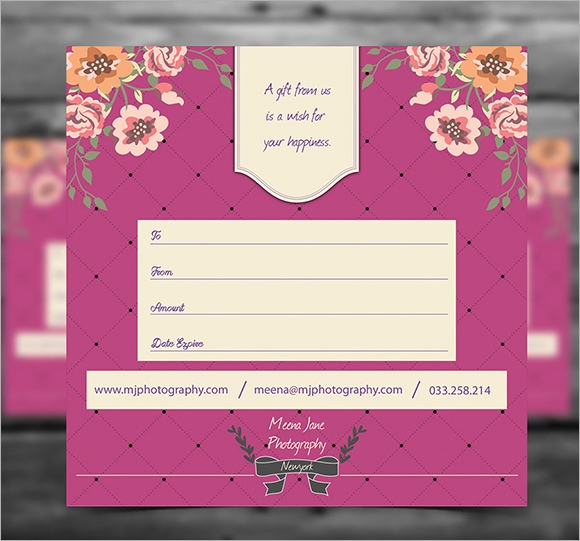 photography gift certificate template .