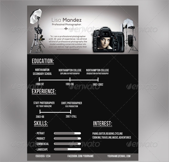 Photographer Resume Templates  Download Documents In Pdf  Psd Word