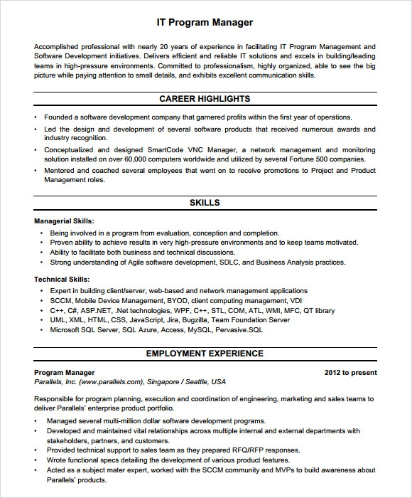 Sample Project Manager Resume   Documents In Pdf Word