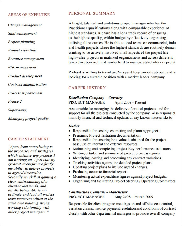 project manager resume sample - Manager Resume Samples Free