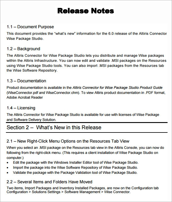 Sample school newspaper for Software release notes template doc