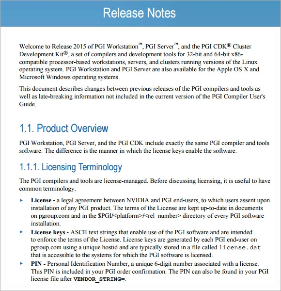 Sample Release Note 5 Documents in PDF Word – Release Notes Template